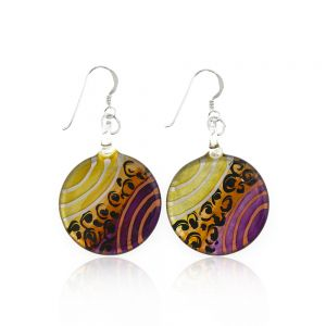 Sterling Silver Hand Painted Murano Glass Gold Purple Orange Round Dangle Hook Earrings