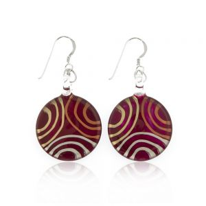 """925 Sterling Silver Hand Painted Murano Glass Red Multi Ciricles Round Dangle Hook Earrings 1.8"""""""