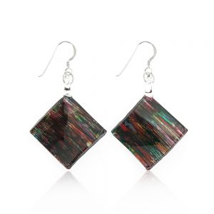 Sterling Silver Hand Painted Murano Glass Multi-Colored Abstract Art Square Dangle Earrings 2