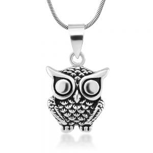 925 Oxidized Sterling Silver Owl Bird Animal Pendant Necklace, 18 inches - Nickel Free