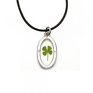 """Black Cord Real Irish Four Leaf Clover Good Luck Symbol Clear Oval Shaped Pendant Necklace, 16-18"""""""
