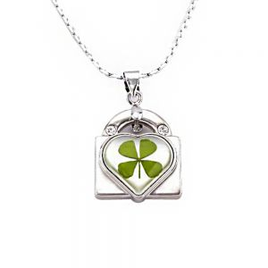 Stainless Steel Real Irish Four Leaf Clover Heart Key Lock Pendant Necklace, 16-18 inches