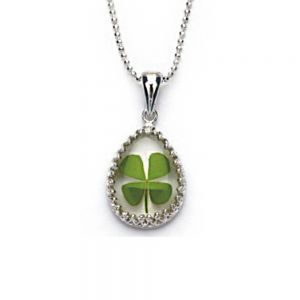 Stainless Steel Real Irish Four Leaf Clover Teardrop Shaped Pendant Necklace, 16-18 inches