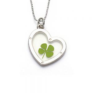 Stainless Steel Real Four Leaf Clover Dangling Heart Pendant Necklace, 16-18 inches