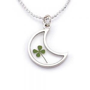 Stainless Steel Real Four Leaf Clover Good Luck Clear Half Moon Pendant Necklace, 16-18 inches