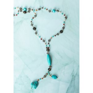 SUVANI Turquoise Gemstones and Crystal Beaded Y Drop Boho Long Necklace for Women, 26 inches