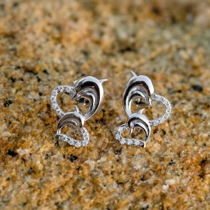 SUVANI Sterling Silver CZ Twin Heart Mom & Baby Dolphin Fish Love Symbol Post Stud Earrings 13 mm