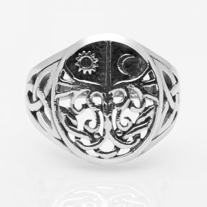 925 Sterling Silver Filigree Ancient Tree of Life Sun and Moon Celtic Trinity Knot Band Ring 6