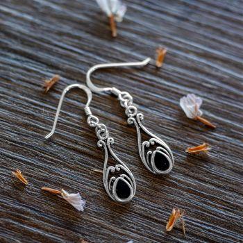 SUVANI 925 Sterling Silver Bali Inspired Vintage Black Onyx Gemstone Filigree Dangle Hook Earrings