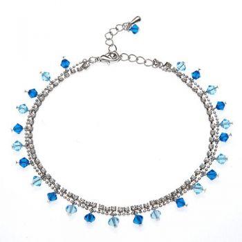 SUVANI 2-Strand Sexy Dangling Ocean Blue Swarovski Crystal & CZ Chain Rhodium Plated Brass Anklet