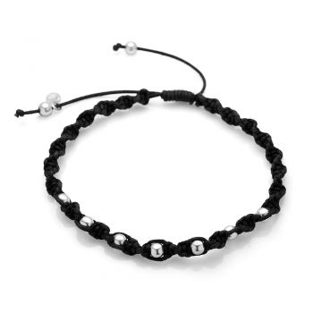 """SUVANI Sterling Silver Hand Woven Black Cotton Cord Silver Ball Beads Braided Unisex Cord Bracelet 6.5""""-10"""""""