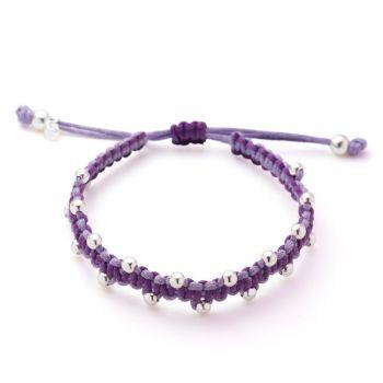 "SUVANI Handmade Sterling Silver Round Ball Beads Purple Cotton Cord Adjustable Length Bracelet 6"" - 8.5"""