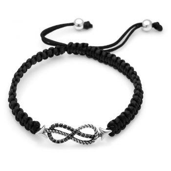 "SUVANI Sterling Silver Black CZ Infinity Symbol Rope Anchor Design Cotton Cord Braided Bracelet 6""-10"""