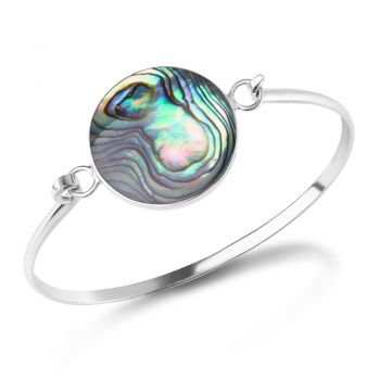 SUVANI 925 Sterling Silver Natural Green Abalone Shell Round Shape Bangle Bracelet 5.5 inches