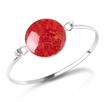 SUVANI 925 Sterling Silver Natural Red Sea Bamboo Coral Round Shape Bangle Bracelet 5.5 inches