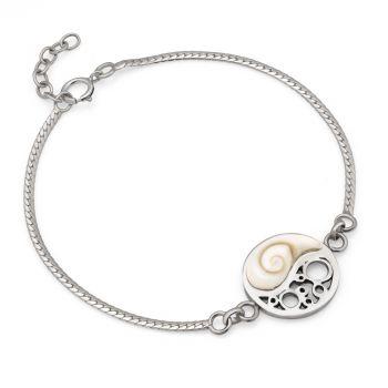"""SUVANI 925 Sterling Silver Yin Yang Symbol White Shiva Eyes Shell Charm Bracelet 5.5""""-7.5"""""""