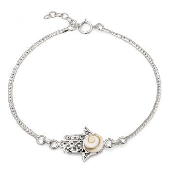 """SUVANI 925 Sterling Silver Hamsa Hand of Fatima Shiva Eyes Shell Amulet Charm Bracelet 5.7""""-7.7"""""""