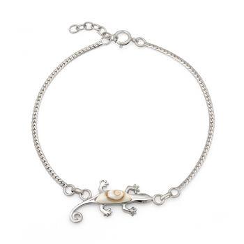 "SUVANI 925 Sterling Silver Gecko Lizard Animal White Shiva Eye Shell Charm Bracelet 5.7""-7.7"""
