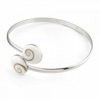 "SUVANI 925 Sterling Silver Natural White Shiva Eye Shell Round Shape Bangle Wrap Bracelet 5.5"""