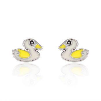 Children's 925 Sterling Silver White Yellow Duck 8 mm Post Stud Earrings