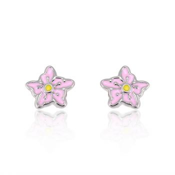 Children's 925 Sterling Silver Pastel Pink Yellow Sweet Orchid Flower 10 mm Post Stud Earrings