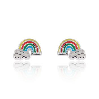 Children's 925 Sterling Silver Tiny Colorful Rainbow Cloud 6 mm Post Stud Earrings