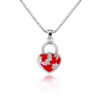 Children's 925 Sterling Silver Cubic Zirconia Pink Heart Flower Bag Pendant Necklace, 13-15 inches