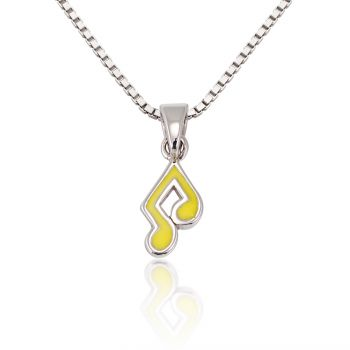 Children's 925 Sterling Silver Yellow Music Note Melody Pendant Necklace, 13-15 inches