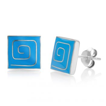 925 Sterling Silver Tiny Blue Enamle Spiral Design Square Fashion Post Stud Earrings 10 mm