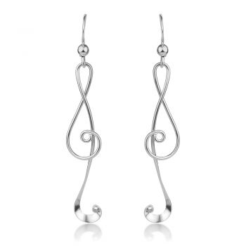 """SUVANI 925 Sterling Silver Treble G Clef Musical Note Music Lover Curvy Design Dangle Hook Earrings 2.2"""""""