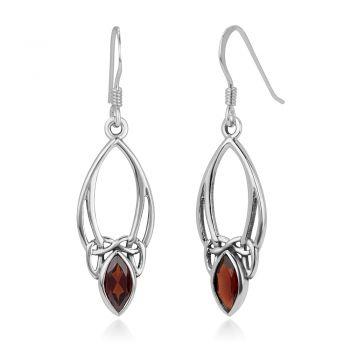 "SUVANI 925 Sterling Silver Open Celtic Knot Symbol Red Garnet Gemstone Marquise Dangle Hook Earrings 1.5"""