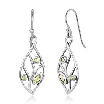 """SUVANI 925 Sterling Silver Open Filigree Light Green Cubic Zirconia Leaves Dangle Hook Earrings 1.5"""""""