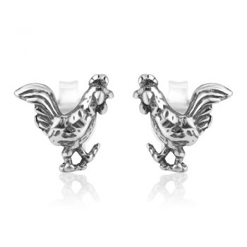 SUVANI 925 Oxidized Sterling Silver Tiny Little Rooster Cock Chinese Zodiac Post Stud Earrings 8 mm