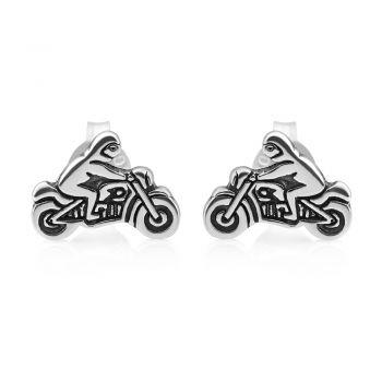 SUVANI Oxidized Sterling Silver Tiny Little Motorcycle Motorbike Biker Post Stud Earrings 10 mm