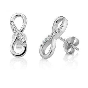 SUVANI Sterling Silver CZ Cubic Zirconia Infinity Eternity Endless Love Symbol 15 mm Post Stud Earrings