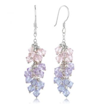 """SUVANI Sterling Silver Sweet Candy Pastel Colored Faceted Swarovski Crystal Beads Dangle Earrings 1.5"""""""