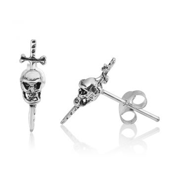 SUVANI 925 Oxidized Sterling Silver Tiny Gothic Skull & Swords Pirate Symbol 15 mm Post Stud Earrings