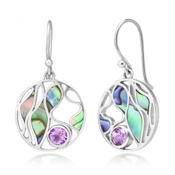 "SUVANI Sterling Silver Amethyst Gemstone Abalone Shell Leaves Design Round Dangle Hook Earrings 1.4"""