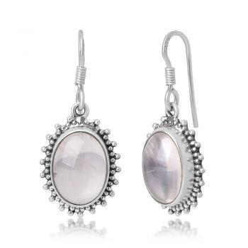 "SUVANI 925 Sterling Silver White Moonstone Gemstone Oval Shaped Vintage Design Dangle Hook Earrings 1.4"""