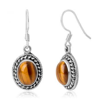 """SUVANI 925 Sterling Silver Brown Tigers Eye Gemstone Oval Rope Edge Vintage Dangle Hook Earrings 1.3"""""""