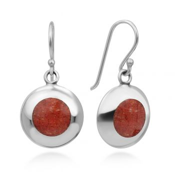 """925 Sterling Silver Natural Red Sea Bamboo Coral Circle Inlay Round Dangle Hook Earrings 1"""""""