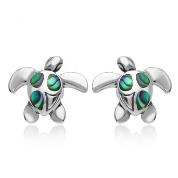 SUVANI 925 Sterling Silver Natural Green Abalone Shell Inlay Sea Turtle Post Stud Earrings 12 mm