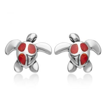 925 Sterling Silver Natural Red Sea Bamboo Coral Inlay Sea Turtle Post Stud Earrings 12 mm