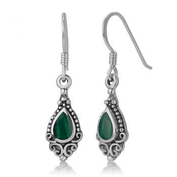 SUVANI 925 Sterling Silver Bali Inspired Gemstone Green Malachite Filigree Dangle Hook Earrings