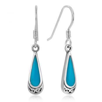 925 Sterling Silver Bali Inspired Natural Blue Stone Celtic Design Dangle Hook Earrings