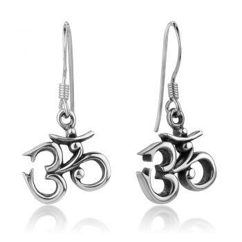 SUVANI Oxidized Sterling Silver Vintage Yoga Aum Om Ohm Sanskrit Symbol Dangle Hook Earrings 1 Inch