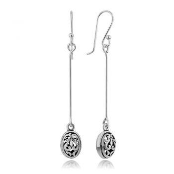 """SUVANI 925 Oxidized Sterling Silver Bali Inspired Filigree Oval Shape Long Dangling Drop Earrings 2.2"""""""