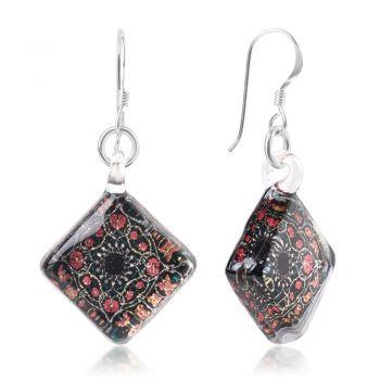 SUVANI Sterling Silver Glass Jewelry Black Pink Flower Mandala Design Dangle Square Earrings