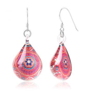 SUVANI Sterling Silver Glass Jewelry Pink Orange Abstract Art Flower Mandala Dangle Teardrop Earrings