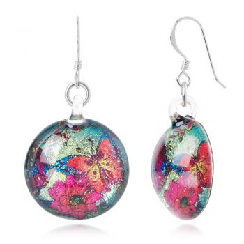 SUVANI Sterling Silver Hand Blown Glass Colorful Butterflies & Flowers Retro Round Dangle Earrings